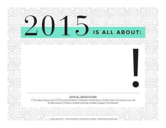 Una sola palabra para definir y centrarse en 2015 (Imprimible) // NicolesClasses-2015MiniPoster1