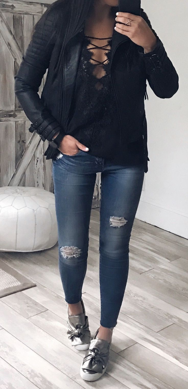 #fall #outfits women's black full zipped leather jacket and; blue distressed jeans