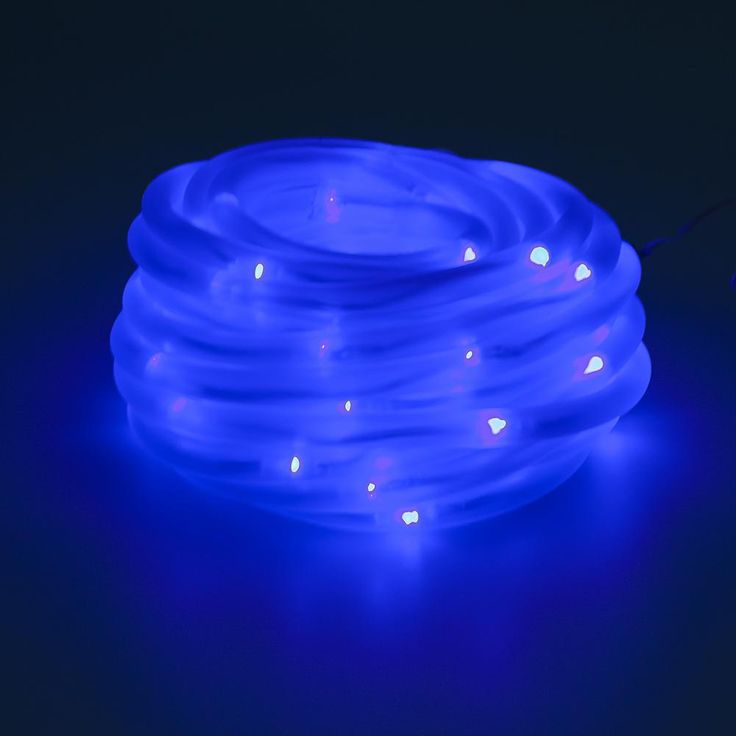 100 Light 32 ft. Solar Powered Integrated LED Blue Christmas Rope Lights