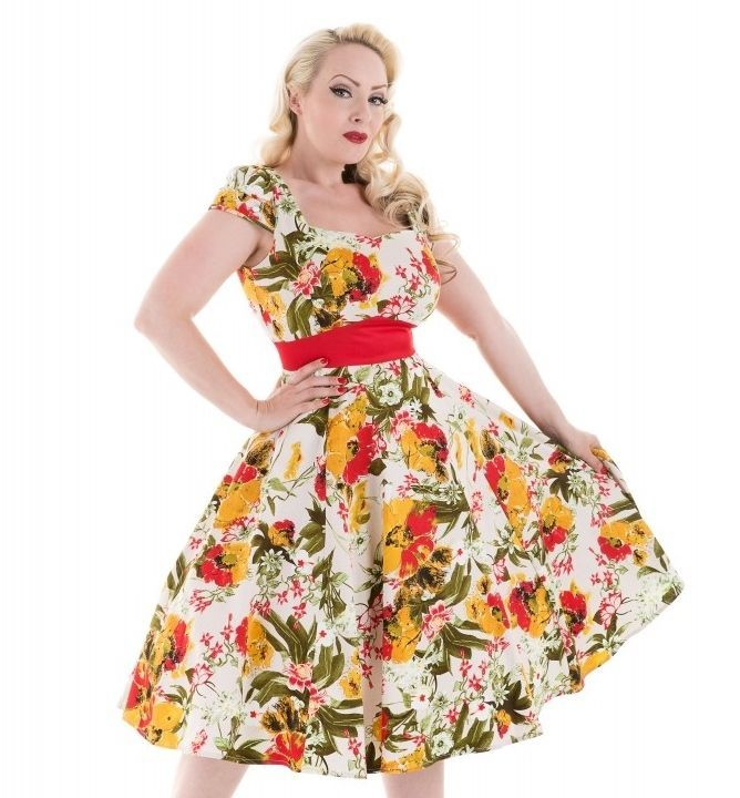 H&R London Mix Floral Sunny Long Dress Rockailly Pinup Vintage Hearts and Roses