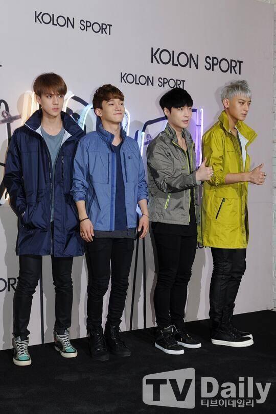EXO sehun,chen,lay, and tao @ Kolon Sport 2014 F/W Fashion Show