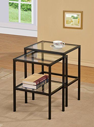 Black Metal Glass Side End Nesting Tables with Shelf (Set of 2) | Smart Pinner