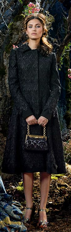 Even a funereal black embroidered coat gets a lift of whimsy in the foot wear department  ~Dolce & Gabbana 2014 ad campaign | The House of Beccaria#