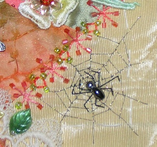 Crazy Quilting and Embroidery Blog by Pamela Kellogg of Kitty and Me Designs: Embroidered Spider Webs with Kreinik Metallics