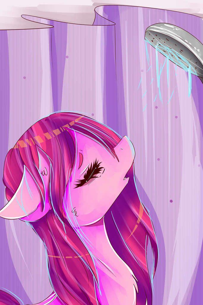 #1238713 - artist:sunshinejoyyt, bath, chromatic aberration, pinkie pie, safe, solo, wet mane - Derpibooru - My Little Pony: Friendship is Magic Imageboard