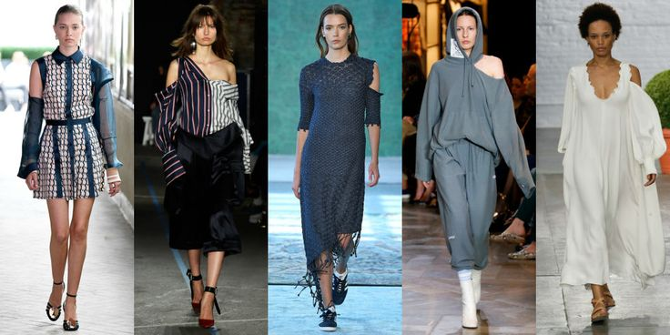 SINGLE SHOULDER CUTOUT Fashion's obsession with shoulders rages on, manifesting itself in strategically placed cutouts for maximum impact. Left to Right: CG,Monse, Hellessy, Vetements, Tibi