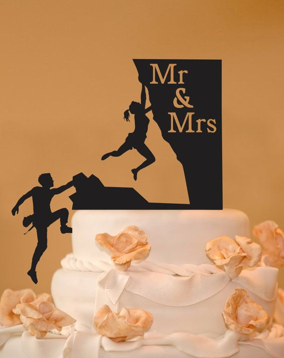 This rock climbing couple with Mr. & Mrs. wedding cake topper is made from food safe acrylic and we have many colors to choose from. The