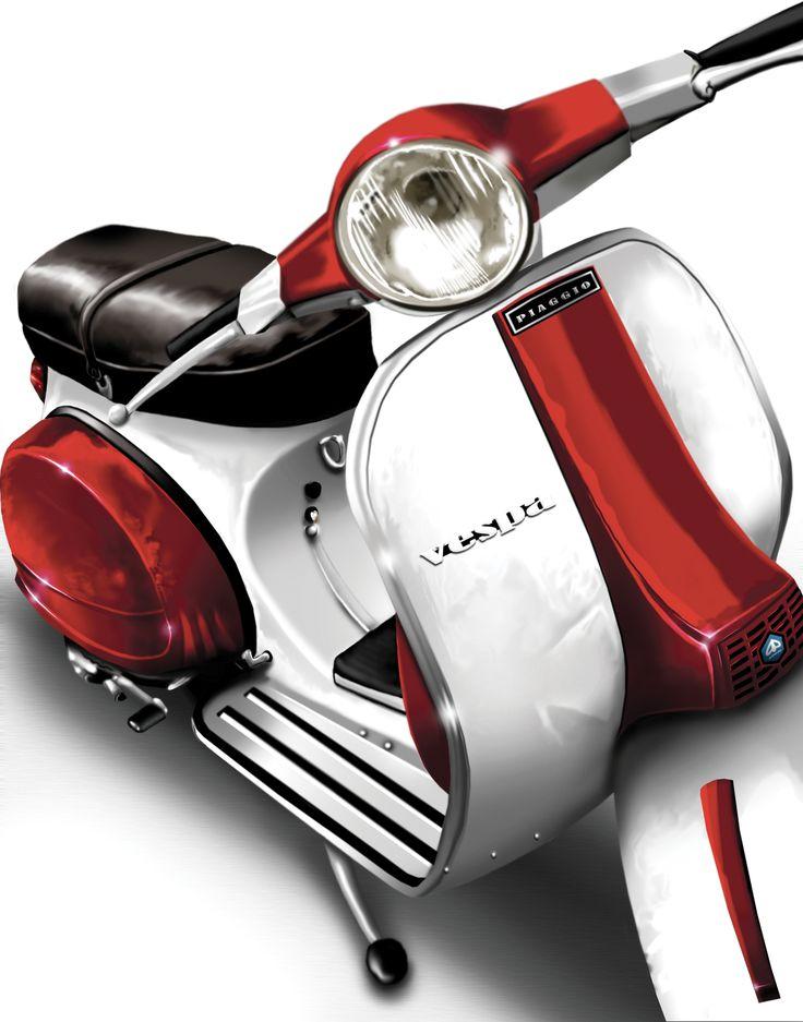 Un magnifique modèle de #Vespa rouge et blanc, les couleurs de l'Italie ? #scooter #Piaggio