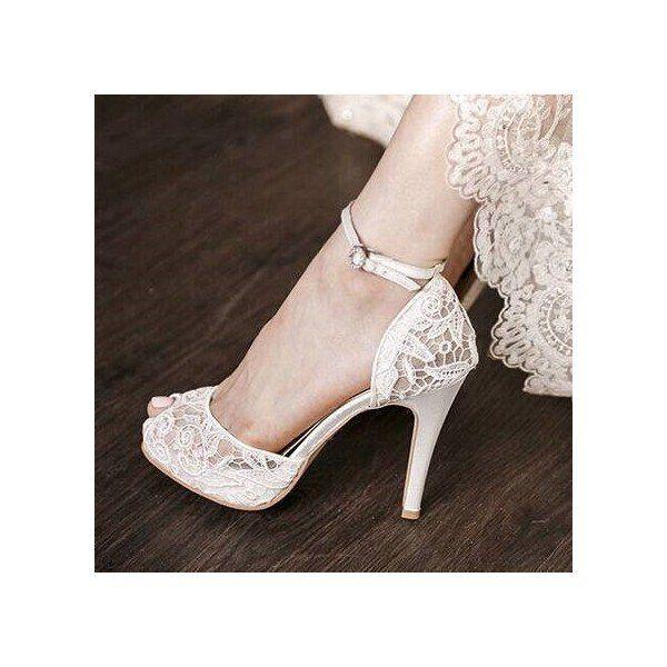 White Bridal Shoes Lace Heels P Toe Ankle Strap Platform Pumps