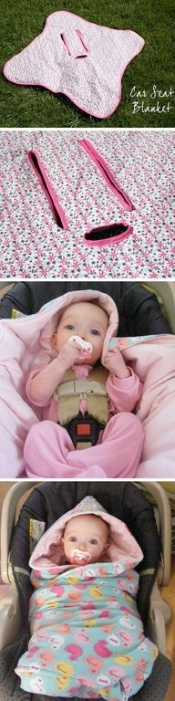 DIY: Baby car seat blanket << this is genius! - THIS IS NOT SAFE! Putting anything between your baby and the carseat/straps renders your carseat useless and deadly.
