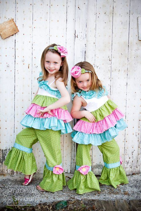Toddler Girl Swing Top and Ruffle Pants 2pc Set perfect for, Birthday Party, Pictures, or Photography Prop. $129.00, via Etsy.