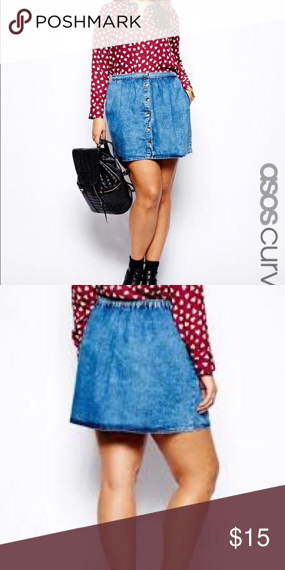 Asos Curve Denim Skirt Asos Curve Denim Skirt.  The skirt has an elastic waist band and a button down front.  Great condition, only worn once. Size 14. ASOS Curve Skirts
