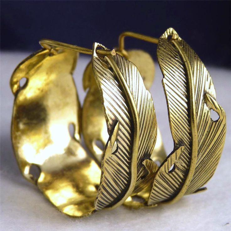 BRASS * SilverSari  Feather Creoles  Hoop Earrings * Design #13