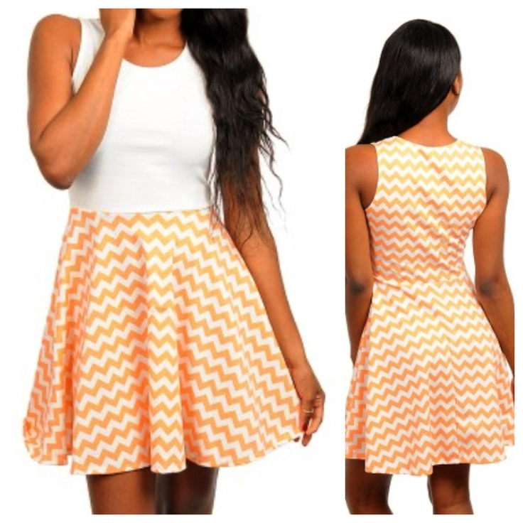Orange Chevron Dress 28.00