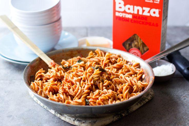 Creamy Tomato Basil Rotini | Made with Banza chickpea pasta