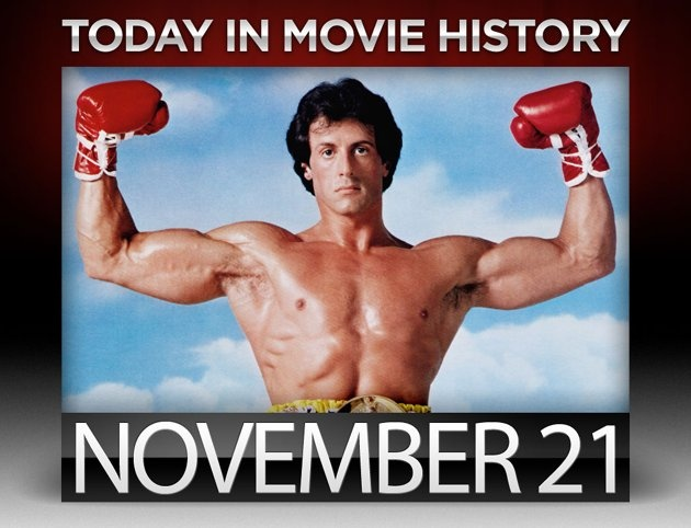 """1976 – Best picture winner """"Rocky"""" premiered on this day in New York City. Sylvester Stallone became just the third person in Hollywood history to earn Oscar noms for best actor and best screenplay in the same year."""