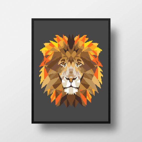 Lion Geometric Cross Stitch Pattern Gift Animal by NikkiPattern