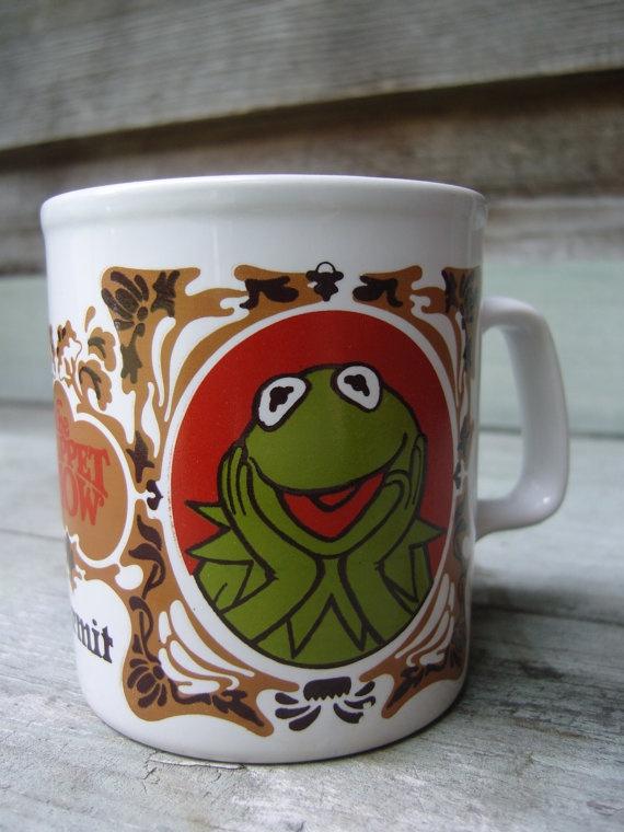 1970s vintage Kermit mug, Kermit the Frog mug, The Muppet show mug, The Muppets show