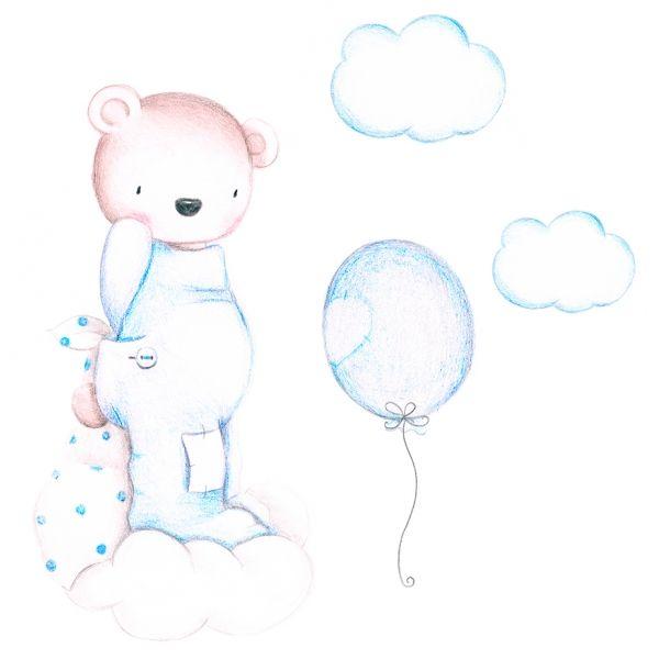 Decoración infantil Il Mondo di Alex, Vinilos - Stickers efecto pintado a mano, OSO ENTRE NUBES... personalizado con nombre y a medida.