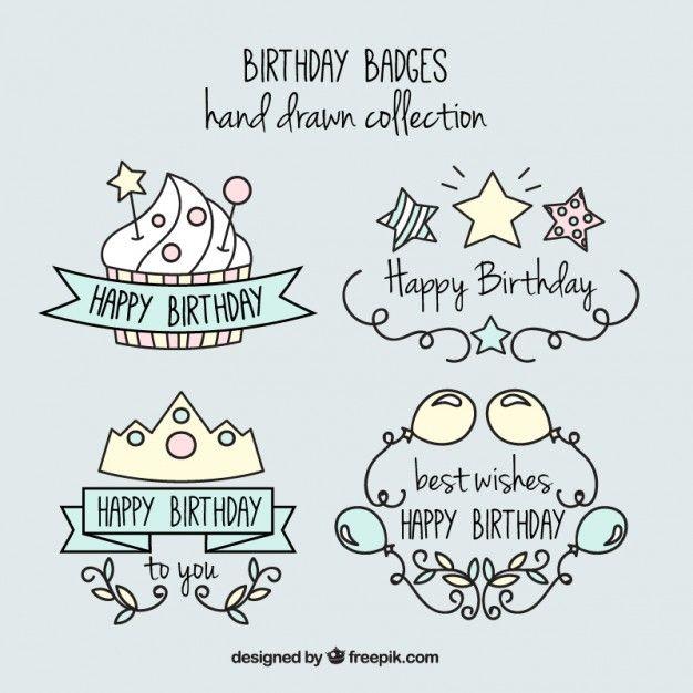 手描き素敵で楽しい誕生日のバッジ 無料ベクター もっと見る
