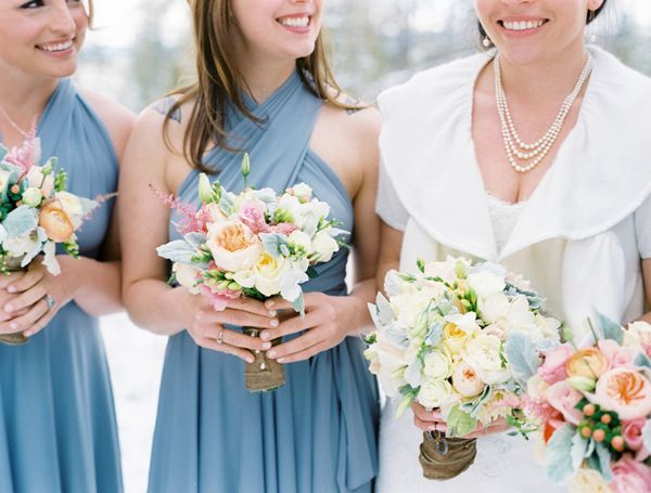 love the lamb's ear with the blue bridesmaids dresses