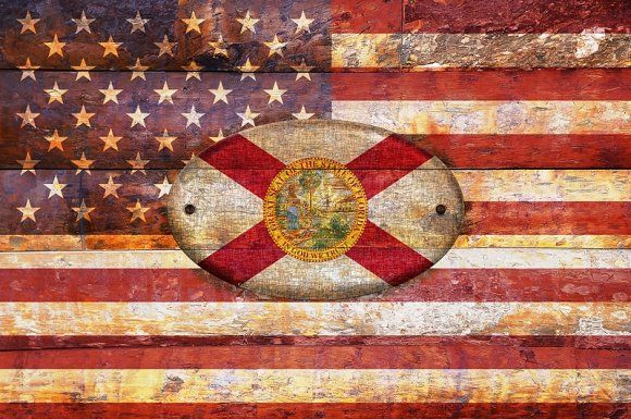 USA and Florida flags. Graphics USA and Florida flags in old wooden. by CreativePhotoSpain