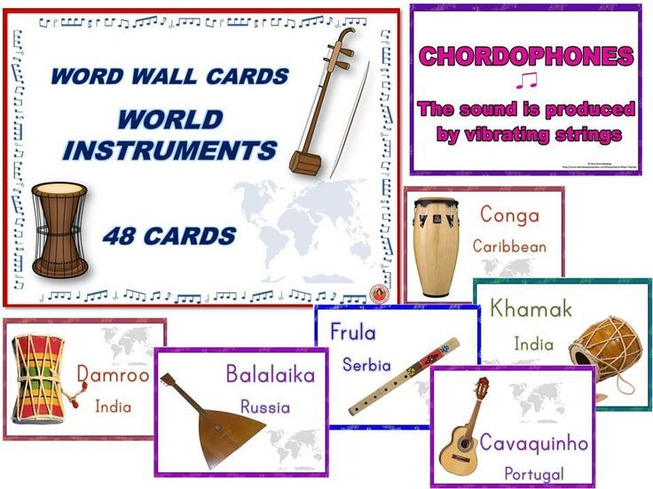 48 World Instruments Cards to laminate and use to create a world music wall in your music classroom!! #musiceducation #Musedchat