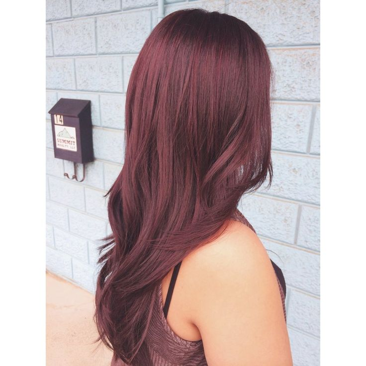 Violet brown all over color with soft red violet highlights ~ Can't wait to dye my hair like this!