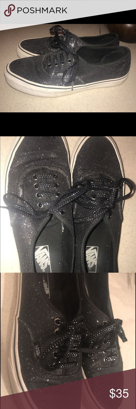 Black glitter vans men's size 9 Black glitter vans men's size 9, worn around 3 times Vans Shoes Sneakers