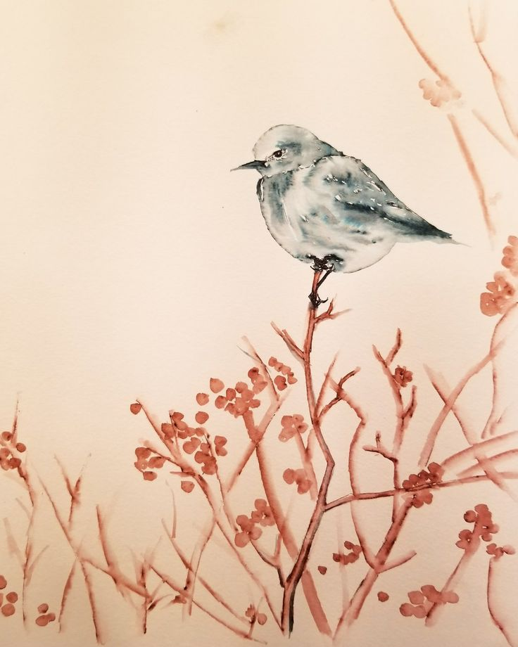 Bird in Winter. Ink on watercolour paper.