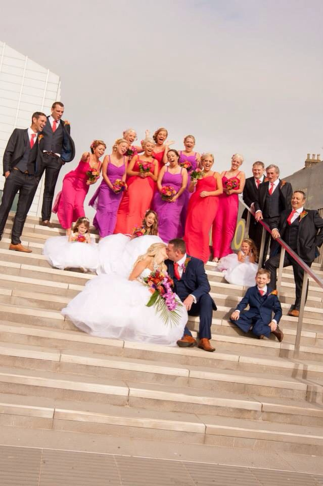 My Beautiful summer wedding by the sea  Tropical flowers, navy, coral, pink, fushia, swarovski shoes, bling!
