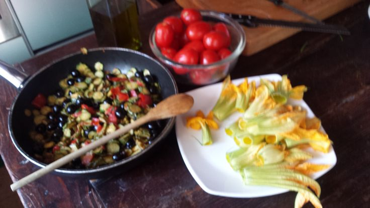tomato from our garden - zucchini flowers