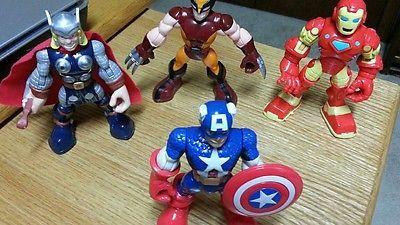 """Hasbro 2012 Playskool Marvel  Wolverine Captain America 5"""" Figures Lot of 4"""