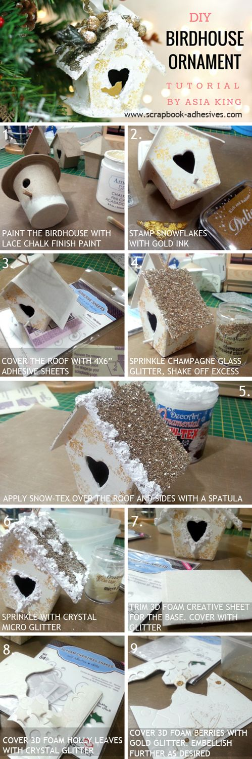 Home for Christmas Bird House Ornament Tutorial by Asia King for Scrapbook Adhesives by 3L. She uses 3D Foam Christmas Shapes and Adhesive Sheets and Stampendous, Deco Art, Tsukineko supplies.