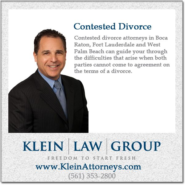 The contested divorce lawyers @Klein Law Group can help when spouses are unable to come to terms. Contested divorces will most likely end up in front of a judge. @KleinAttorneys #BocaRaton #Divorce #DivorceAttorney #DivorceLawyer #ContestedDivorce