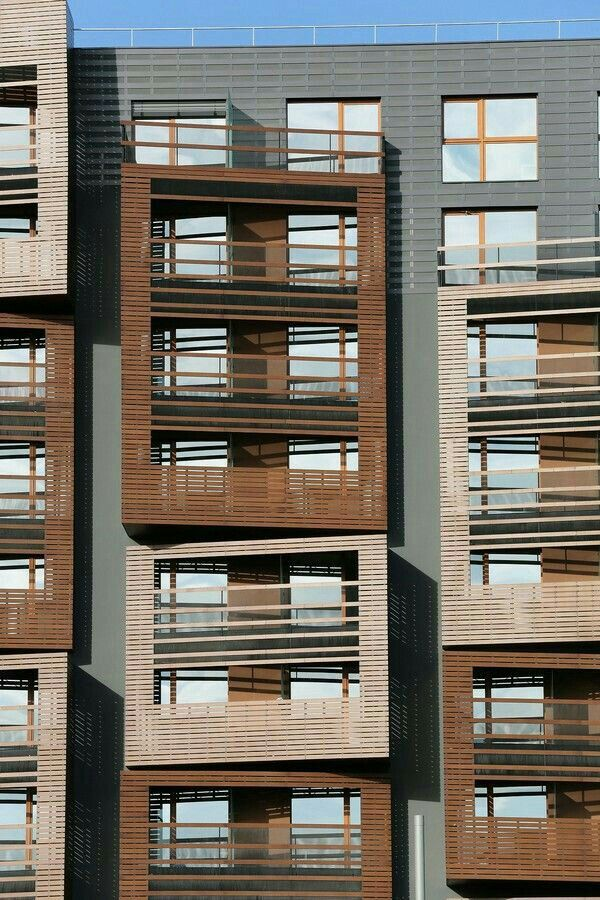 daylight control, balconies, and angles adjusting the facade