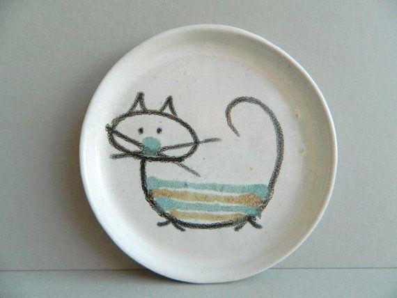 Small Bennington Potters Modernist cat plate very early david gil