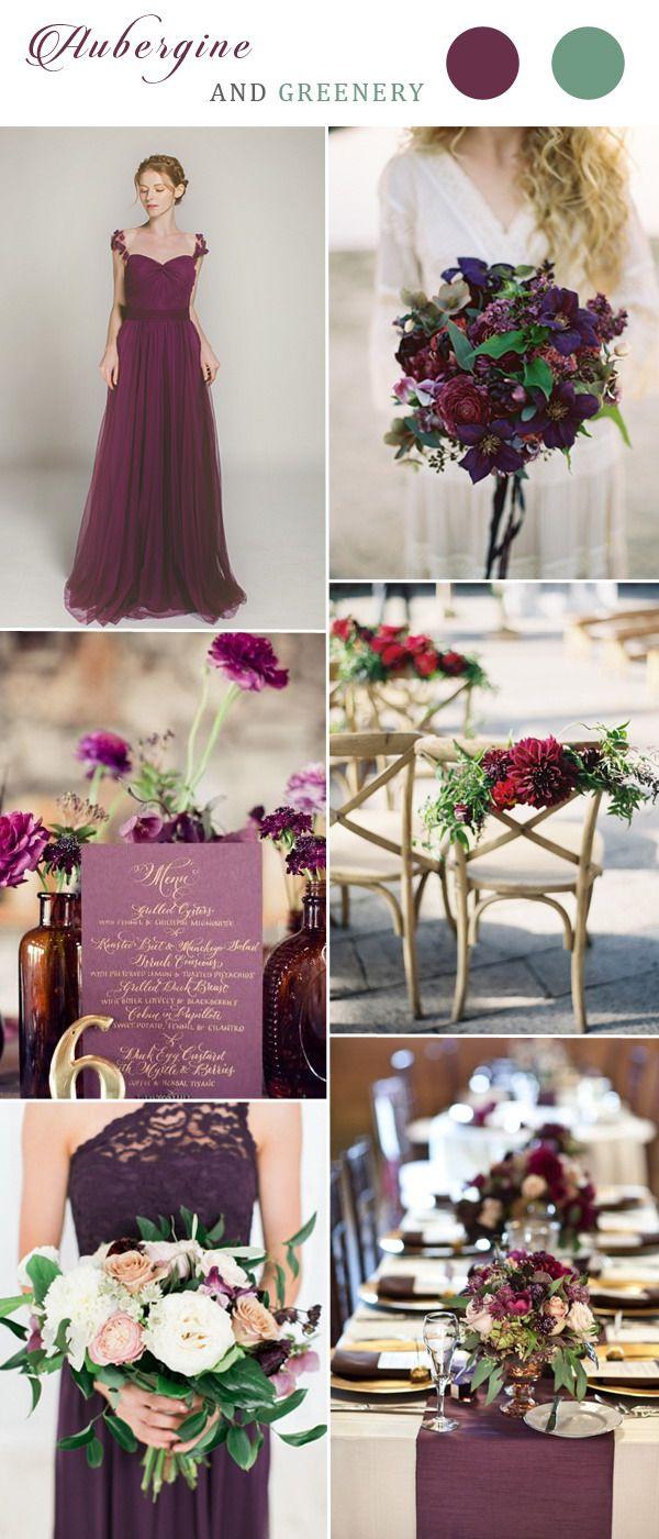aubergine tulle bridesmaid dress for greenery themed weddings 2017