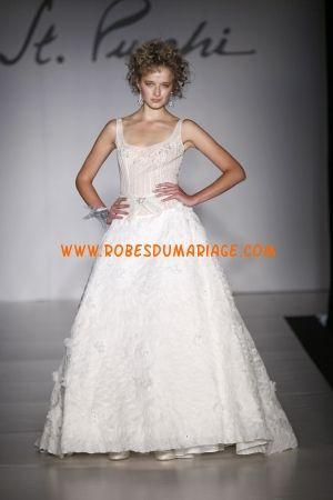 St. Pucchi belle robe de mariée longue de luxe évasé avec bretelles organza Style 9377