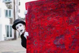 #Vintage #Teppich   #gefärbt gewebt   #Orient-#Design   #rot #blau #feuerrot #wohnzimmer #esszimmer #kinderzimmer  - Bild vergrößern