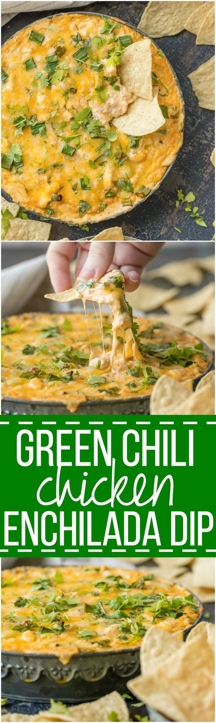 This GREEN CHILE CHICKEN ENCHILADA DIP is the ultimate party food, loaded with chicken, green chiles, cream cheese, sour cream, and so much more. It will be gone in minutes from any get together.  via @beckygallhardin
