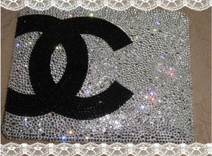 Chanel Logo Swarvoski Crystal Ipad Case.