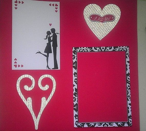 Young Love Valentine 12 x 12 premade by ScrappingWithStyle on Etsy, $7.50