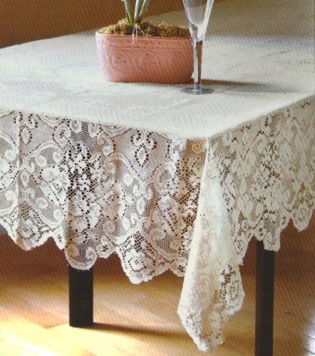Table Sense Lace Fabric Tablecloth In Ivory, 52x70 Oblong (Rectangle) Table  Sense Http