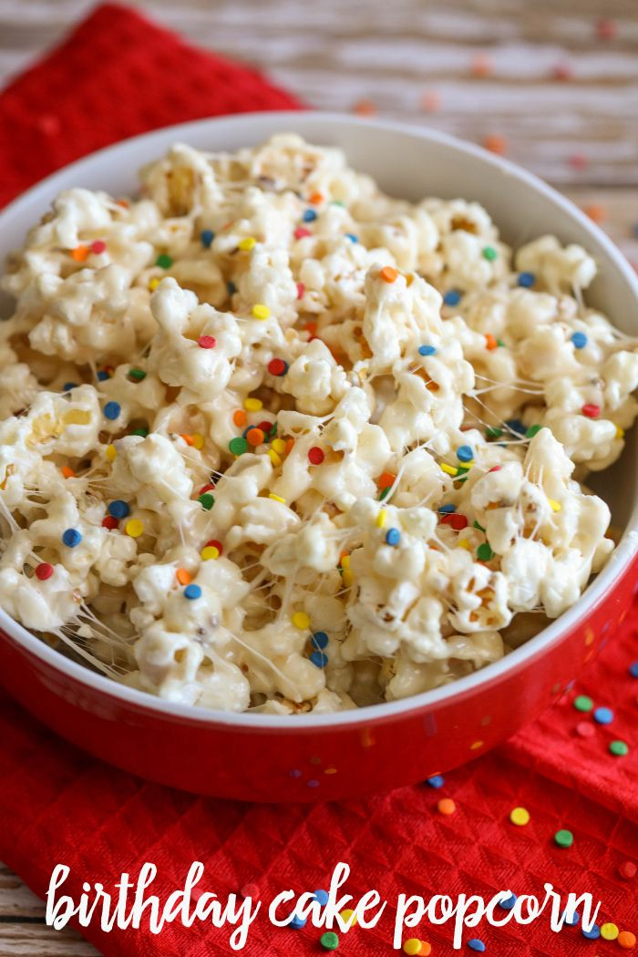 Birthday Cake Popcorn | 18 Cake Batter Recipes to Try on Your Unbirthday | http://www.hercampus.com/health/food/18-cake-batter-recipes-try-your-unbirthday