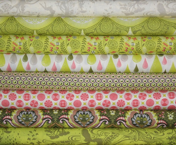 fat quarter bundle (olive colorway)--8 pieces (2 yards total) from the Prince Charming Collection, Tula Pink, Free Spirit Fabrics