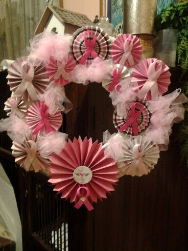 Breast cancer fundraiser wreath
