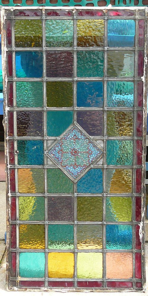 Vintage Leaded Stained Glass Panel.