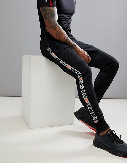 1c34ee48daf8 Superdry slim fit jogger with side taping in black