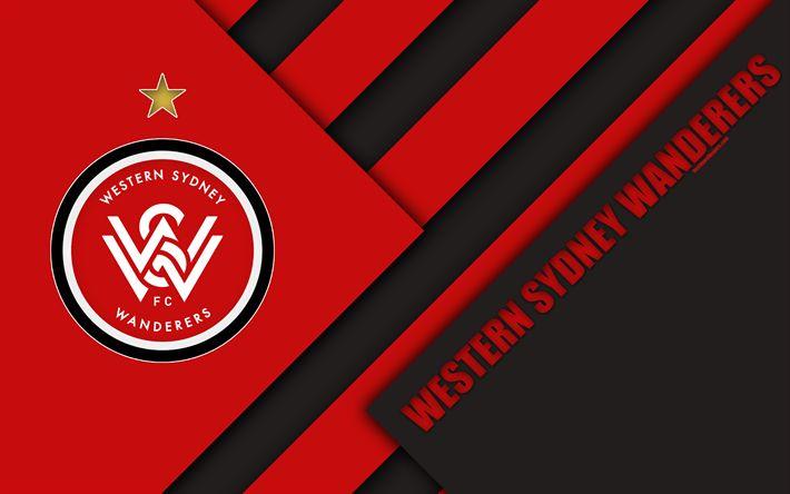 Download wallpapers Western Sydney Wanderers FC, 4k, Australian Football Club, material design, logo, red black abstraction, A-League, Sydney, Australia, emblem, football
